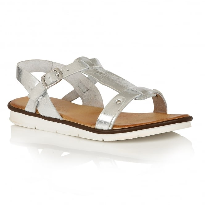 Lotus Aerin Silver Leather Open-Toe Sandals
