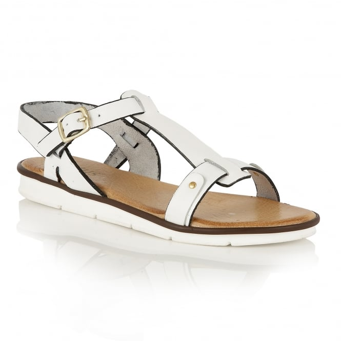 Lotus Aerin White Leather Open-Toe Sandals