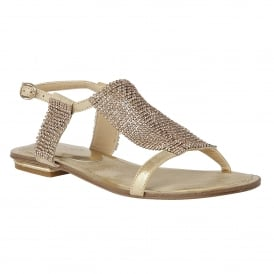 Agnetha Gold & Chainmail Flat Sandals