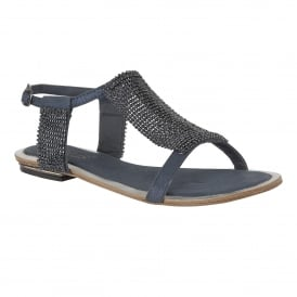 Agnetha Navy & Chainmail Flat Sandals