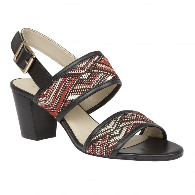 Lotus Alaska Red Multi Rafia Sling-Back Sandals