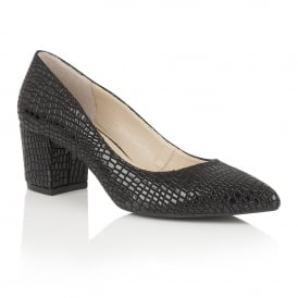 Alaura Black Croc Print Court Shoes