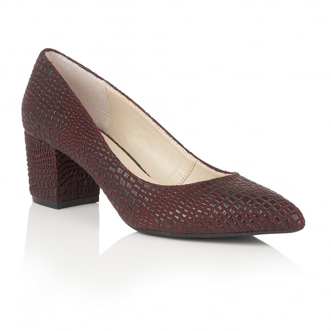 Lotus Alaura Burgundy Croc Print Court Shoes