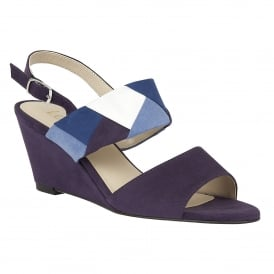 Alpha Blue-Multi Microfibre Wedge Sandals
