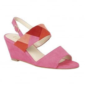 Alpha Fuchsia-Multi Microfibre Wedge Sandals