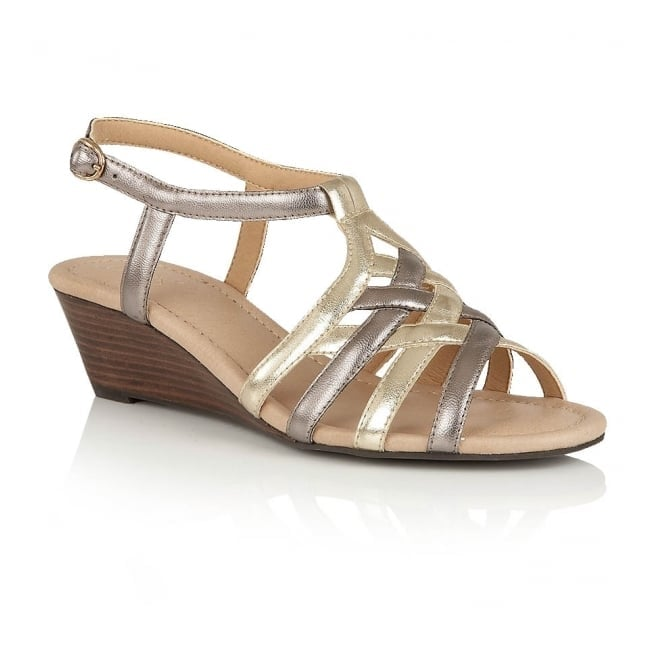Lotus Ambra Pewter & Light Gold Open-Toe Wedge Sandals