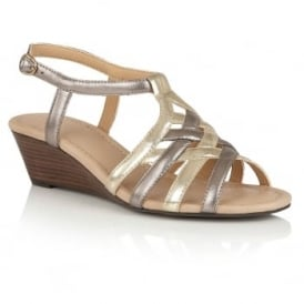Ambra Pewter & Light Gold Open-Toe Wedge Sandals