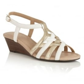 Ambra White & Platino Open-Toe Wedge Sandals