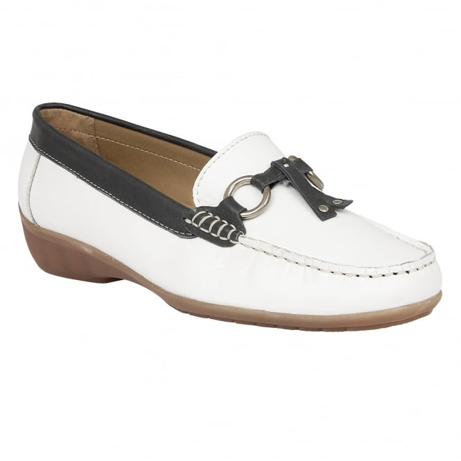 Lotus Amoroso White & Navy Leather Loafers