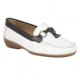 Amoroso White & Navy Leather Loafers