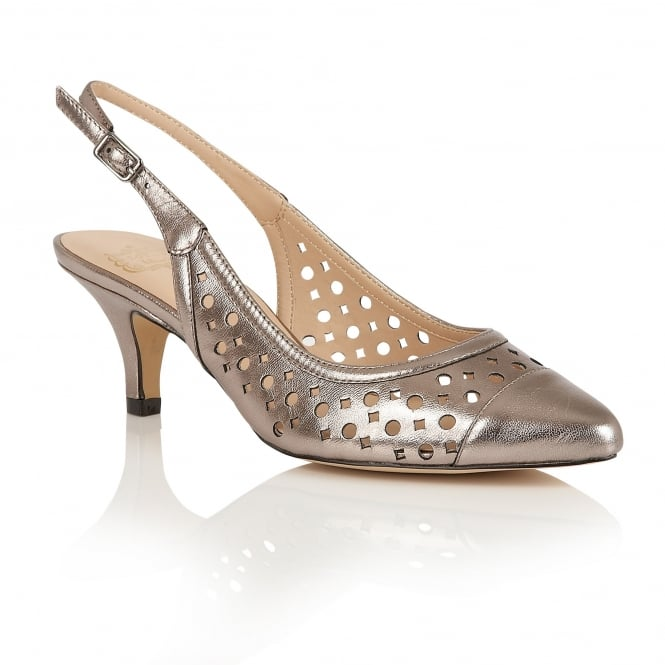 Lotus Andora Pewter Leather Sling-Back Court Shoes