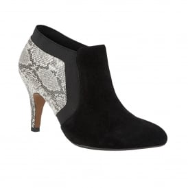 Angelonia Black Microfibre & Grey Snake Print Shoe-Boots