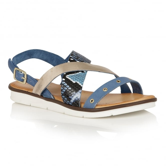 Lotus Anidori Blue Snake-Print Leather Open-Toe Sandals