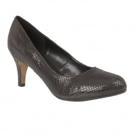 Ardice Black Snake Print Round-Toe Court Shoes