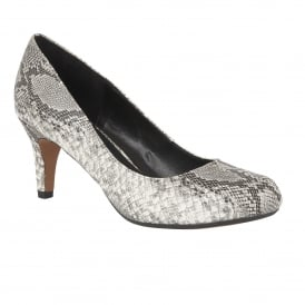 Ardice Grey Snake Print Round-Toe Court Shoes