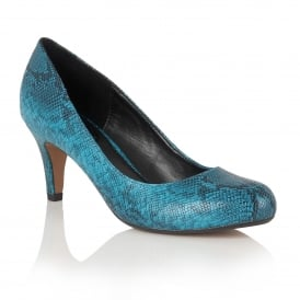 Ardice Turquoise Snake Print Round-Toe Court Shoes