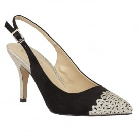 Arlind Black & Light Gold Glitz Sling-Back Court Shoes
