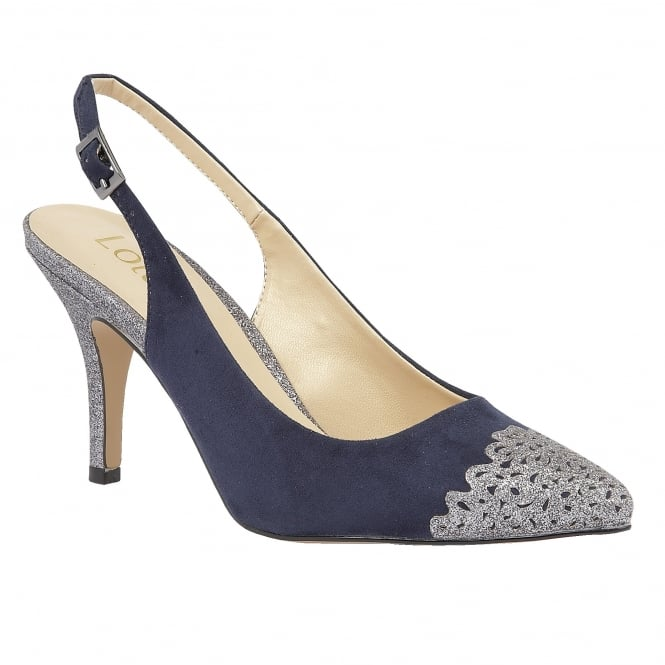 Lotus Arlind Navy & Pewter Glitz Sling-Back Court Shoes