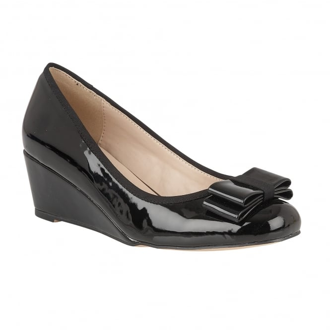Lotus Asela Black Shiny Wedge Ballerina Shoes