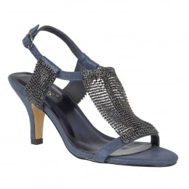 Aspey Navy & Chainmail Open-Toe Sandals