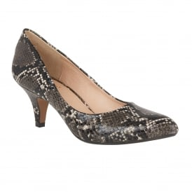 Bakula Black & Grey Snake Print Court Shoes