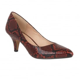 Bakula Red Snake Print Court Shoes