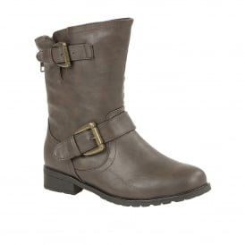 Barberry Brown Matt Round-Toe Ankle Boots