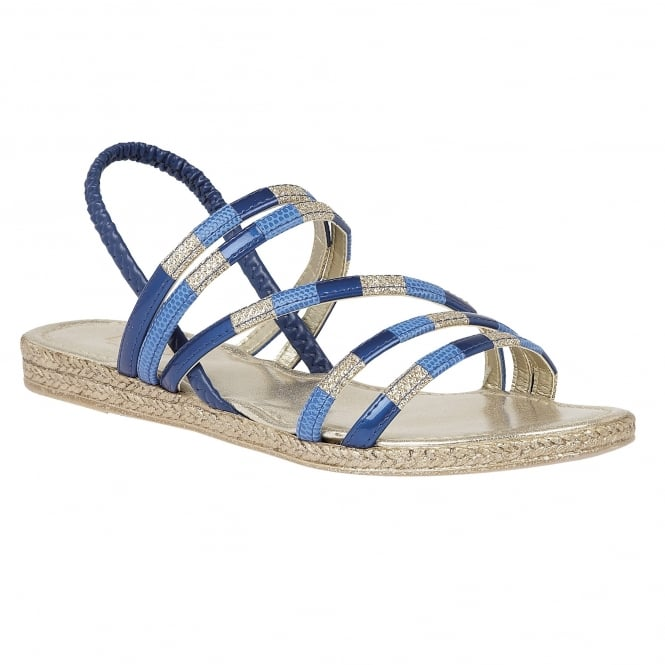 Lotus Bastia Blue-Multi Elastic Flat Sandals