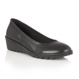 Beech Black Leather Slip-On Shoes
