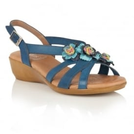 Bethel Blue Multi-Leather Wedge Sandals