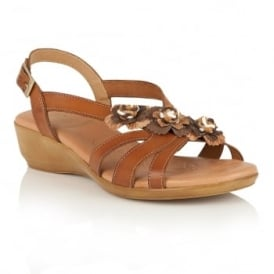 Bethel Tan Multi-Leather Wedge Sandals