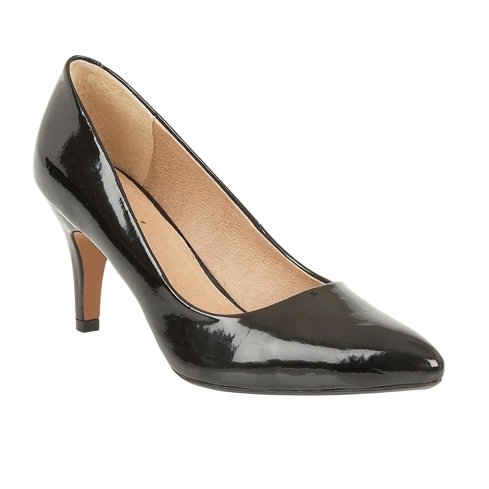 lotus blithe black shiny pointed toe court shoes shoes