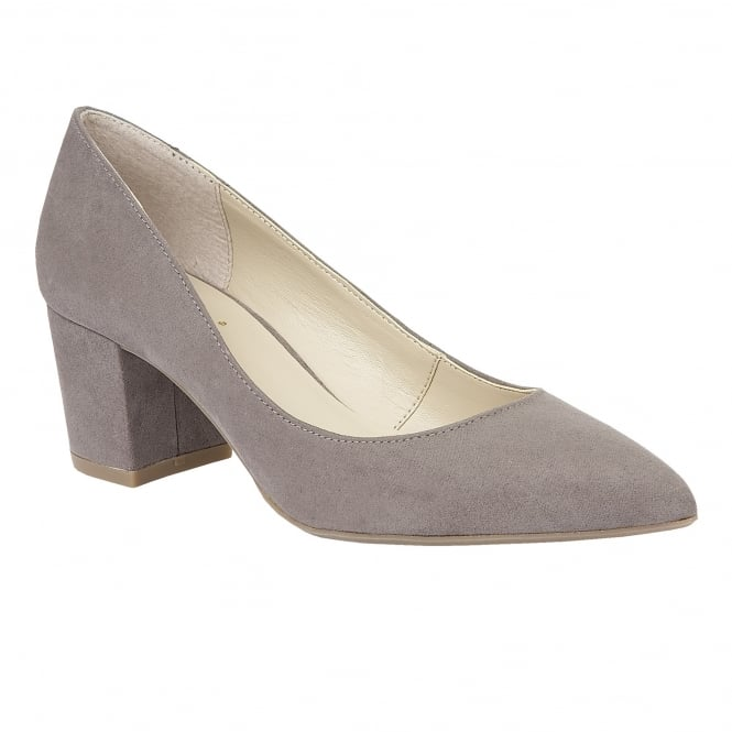Lotus Briars Grey Microfibre Slip-On Pumps