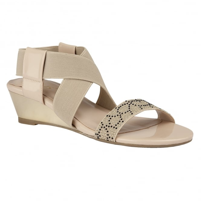 Lotus Briee Beige Shiny & Elastic Sandals
