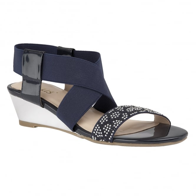 Lotus Briee Navy Shiny & Elastic Sandals