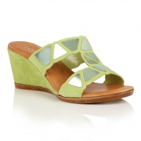 Briony Lime Suede Wedge Sandals