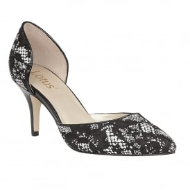 Brogna Black & White Textile Court Shoes