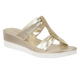 Cambio Light Gold Metallic Open-Toe Sandals