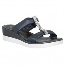 Cambio Navy Matt Open-Toe Sandals
