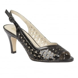 Canaan Black-Shiny Sling-back Court Shoes
