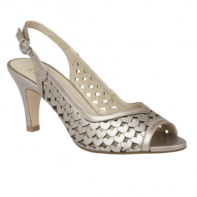 Lotus Canaan Pewter Metallic Sling-back Court Shoes