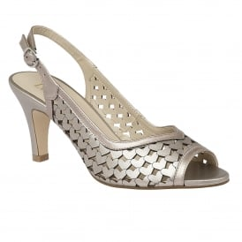 Canaan Pewter Metallic Sling-back Court Shoes