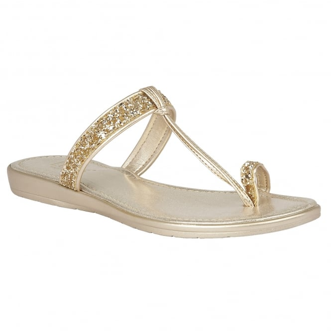 Lotus Candida Gold & Glitter Toe-Post Sandals