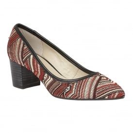 Cascades Red-Multi Rafia Pointed-Toe Court Shoes