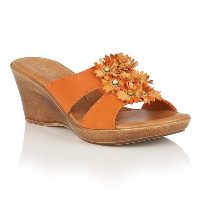 Lotus Cassel Orange Wedge Mule Sandals with Leather Flowers
