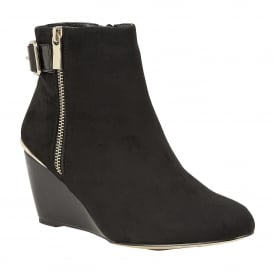 Cassia Black Microfibre & Shiny Wedge Zip-Up Boots
