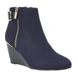 Cassia Navy Microfibre & Shiny Wedge Zip-Up Boots
