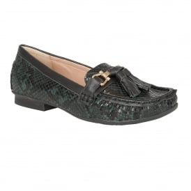 Chalina Green Snake Print Loafers