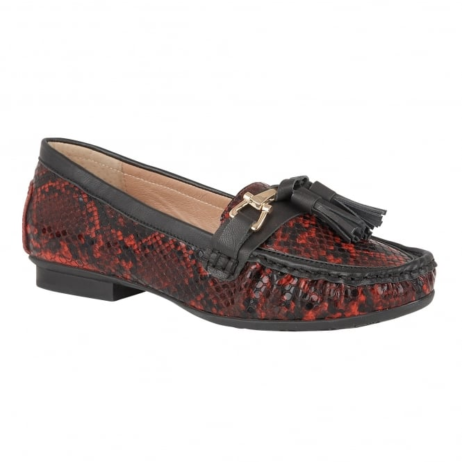 Lotus Chalina Red Snake Print Loafers