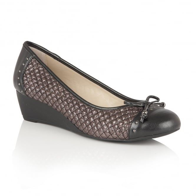 Lotus Chenatta Pewter Metallic Textile Ballerina Pumps
